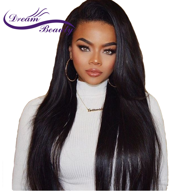 Dream Beauty 250 Density Straight Brazilian Lace Front Wigs With Baby Hair 8 24 Inch Remy