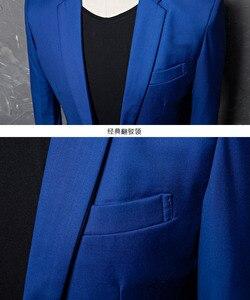 Image 4 - PYJTRL ブランドファッションカジュアルファッションレジャースーツのジャケットのコートロイヤルブルー男性ブレザースリムフィットデザイン Masculino ステージ衣装歌手