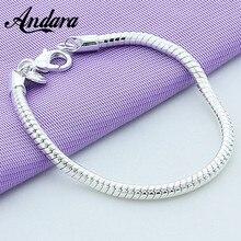 Hot Sale 3mm 20cm Snake Chain Bracelet for Women Men Silver 925 Jewelry Bracelets Fashion Jewelry