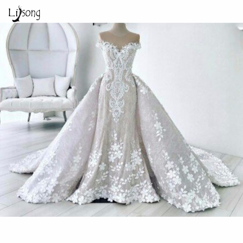 Saudi Arabic 2018 Lace Mermaid Wedding Dresses With Detachable 3D Flower Lebanon Bridal Gowns Custom Made Robe De Mariee