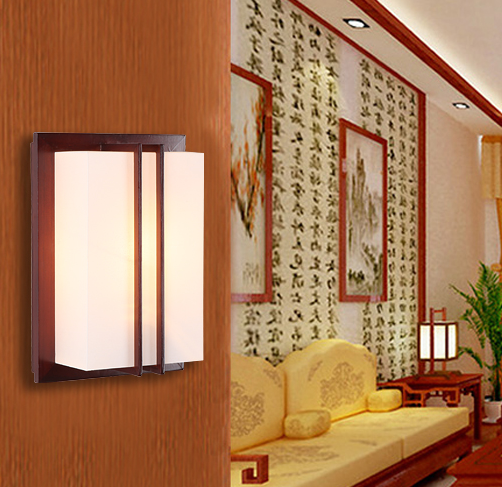 Chineses rustic red wood frame wall lamps Brief white parchment energy saving E27 lamp f ...