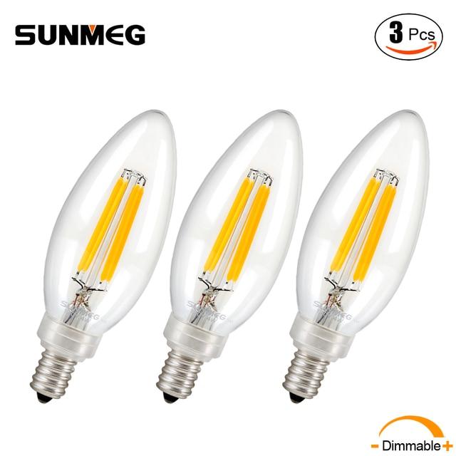 SUNMEG 3Pcs C35 220V Candelabra LED Bulb E14 Dimmable 40/60 Watt ...