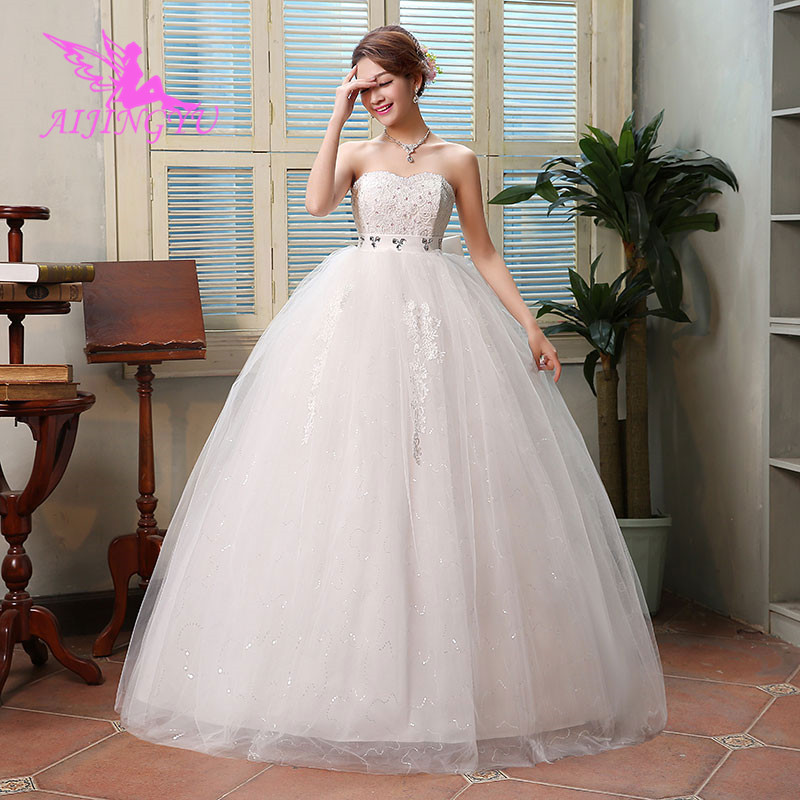 AIJINGYU 2018 Marriage Free Shipping New Hot Selling Cheap Ball Gown Lace Up Back Formal Bride Dresses Wedding Dress WK592