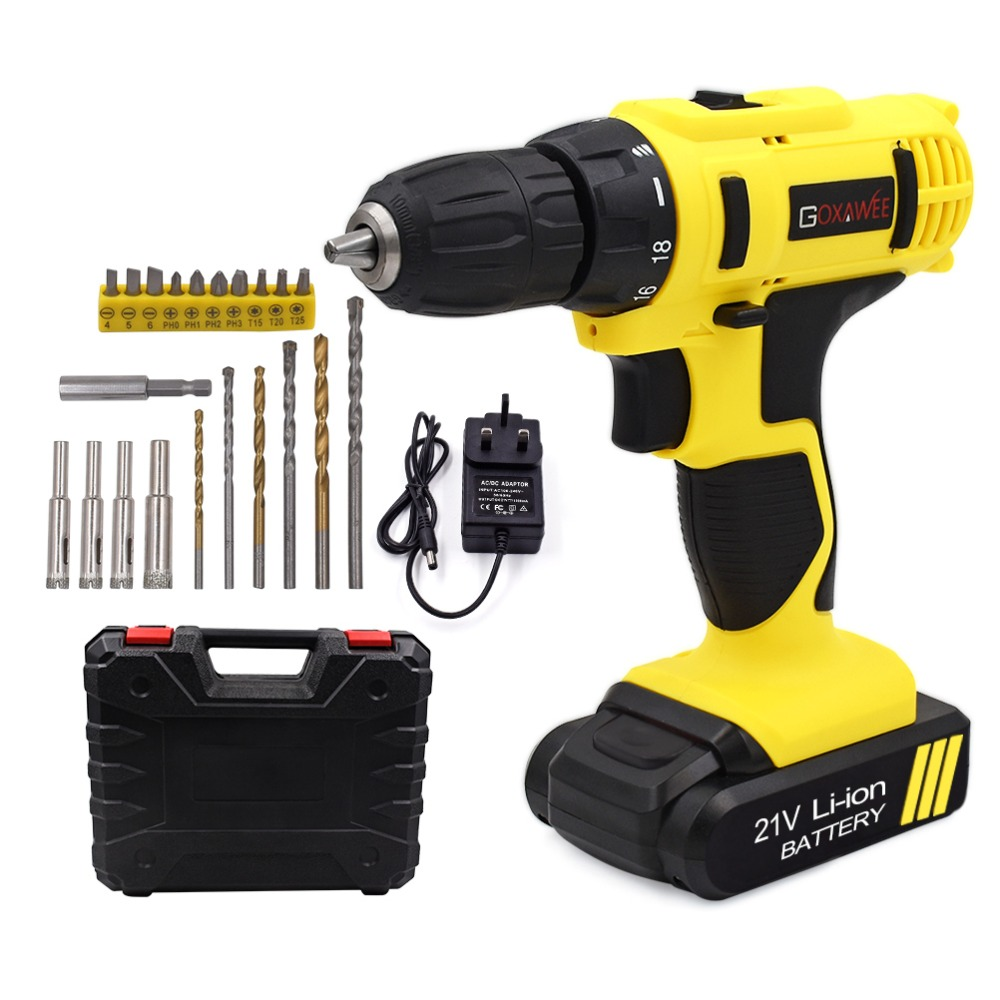 GOXAWEE 21V/12V Electric Screwdriver Cordless Electric Mini Drill Lithium-Ion Battery Operated Rechargeable Power Tools 2-Speed