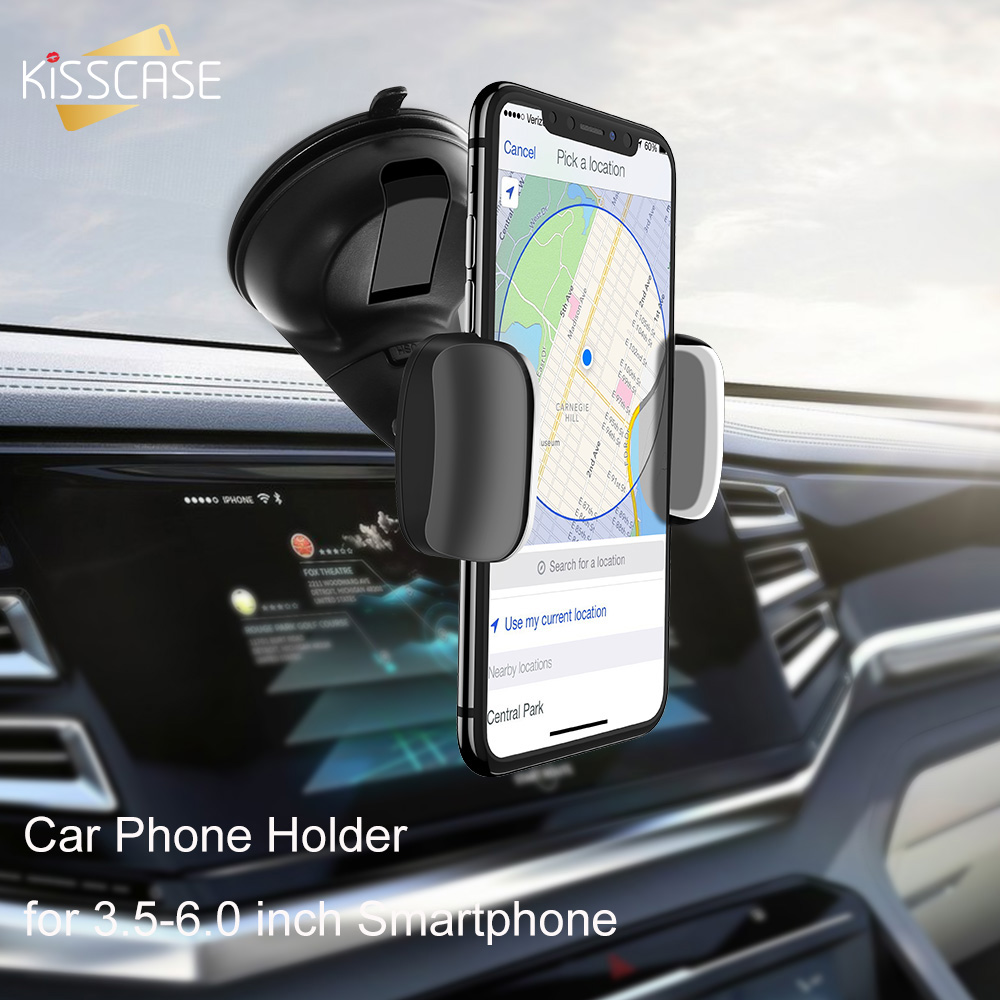 KISSCASE 3.5-6.0 inch Car Phone Holder with Silicone Suction Cup Universal for Phones Mobile Stand