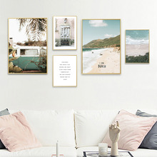 Beach Canvas Print Wall Art Seascape Picture Nordic Poster Living Room Landscape Quote Painting Quotes Unframed