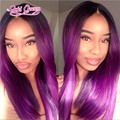 High Quality Straight Ombre Lace Front Human Hair Wigs Two Tone Purple Human Hair Wig Full Lace Wigs 130 Density fashion women