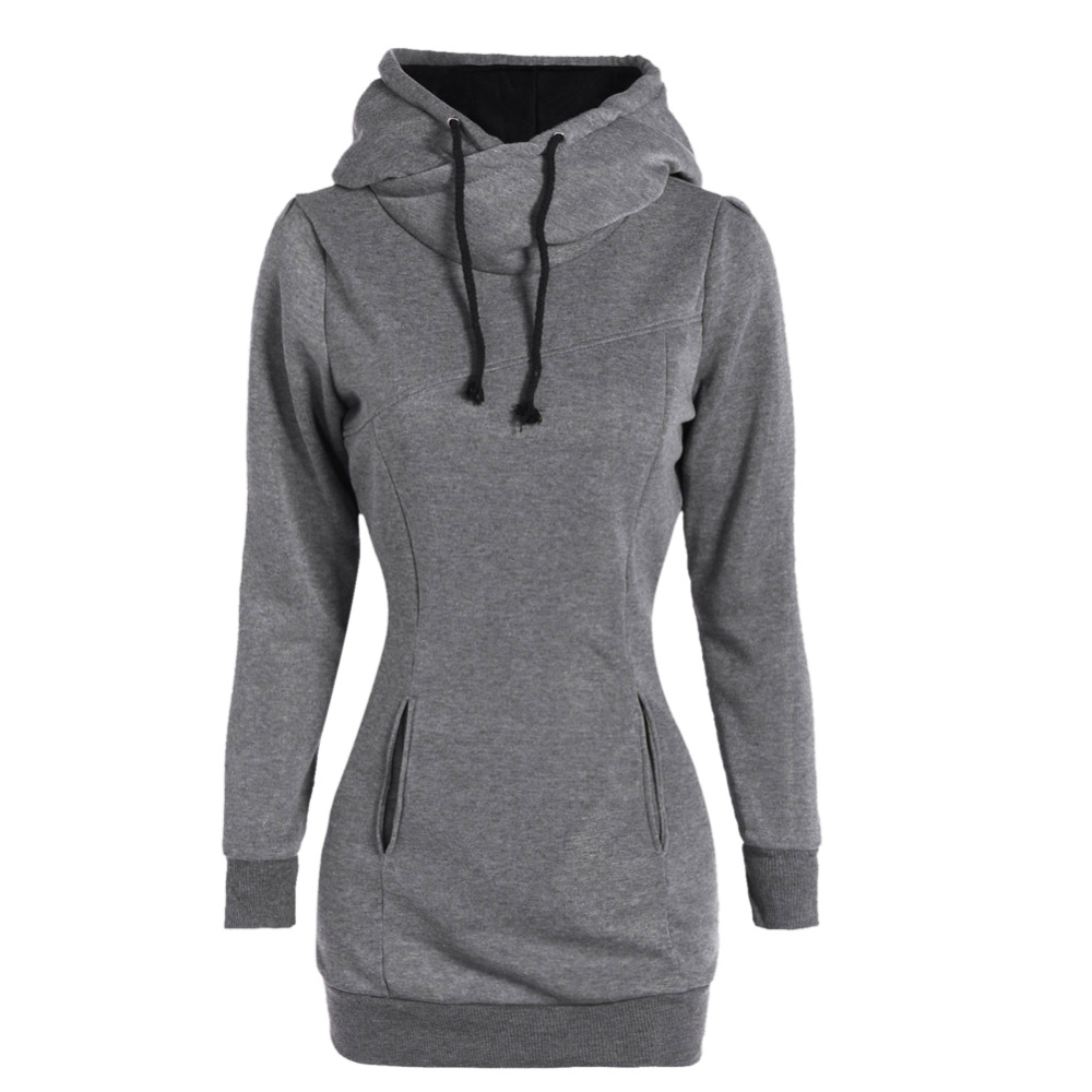Winter Hoodies Fashion Plus Size Pockets Design Hoodies Long Sweatershirt Female Women Pullover Solid Warm Hoodies Casual Top