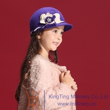 Fashion 100 Wool Girl s Lovely Winter Hats Fedoras Beaded Flower Felt Caps Head Accessories
