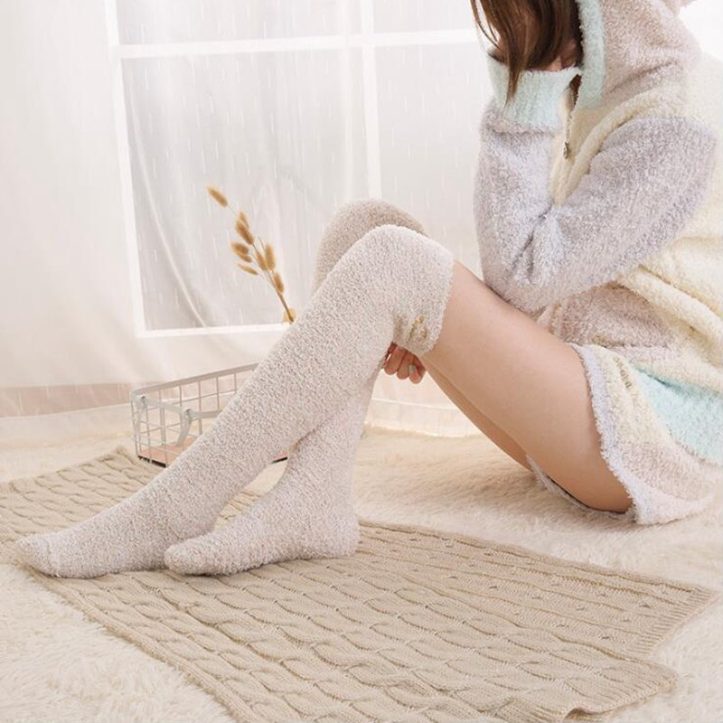 New Autumn Winter Women Warm Solid Color Long   Socks   Coral Velvet Fleece Lady Girls Casual Women Fluffy Home Floor   Socks