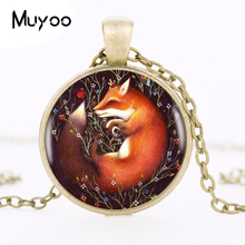 2017 Sleeping Fox In Flowers Pendant Choker Statement Silver Necklace For Women Dress Accessories Fashion Jewelry Glass HZ1