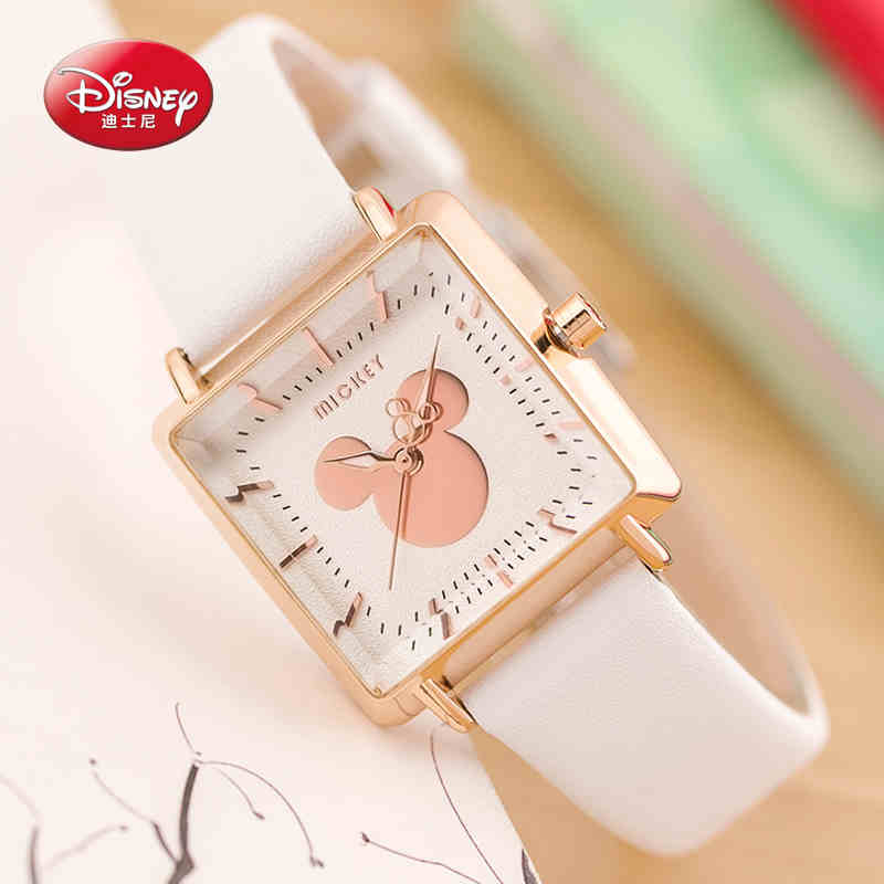 Authentic Disney Quartz Lady Watches Women Luxury Rose Gold Antique Square Leather Dress Wrist watch Relogio Feminino Montre rolsen rep 212 violet