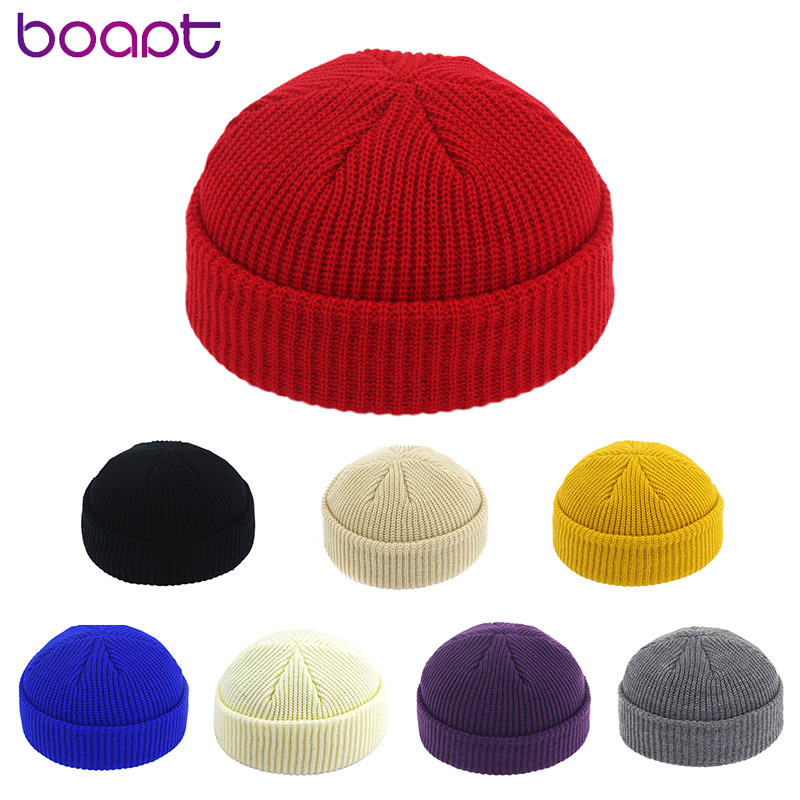 Unisex Winter Ribbed Knitted Cuffed Short Acrylic Melon Cap Casual Solid Color Skullcap Baggy Retro Ski Adult Beanie Hat