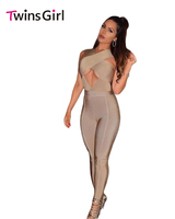 Sexy Night Club Rompers Overalls Women Khaki Grey Cross Bust Bandage Bodycon Jumpsuit 2016 Sexy Club