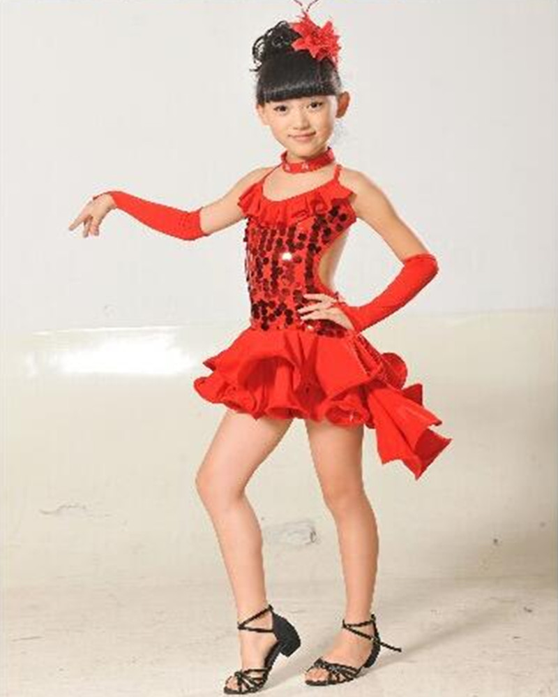 Stage performance red black yellow blue rumba latin dance dress tango samba 110-160cm professional girl child dress costume