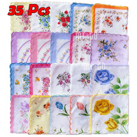 Popular 35 Pcs Cotton Gauze Muslin Square Lovely Flower Pattern Handkerchief Towel Colorful