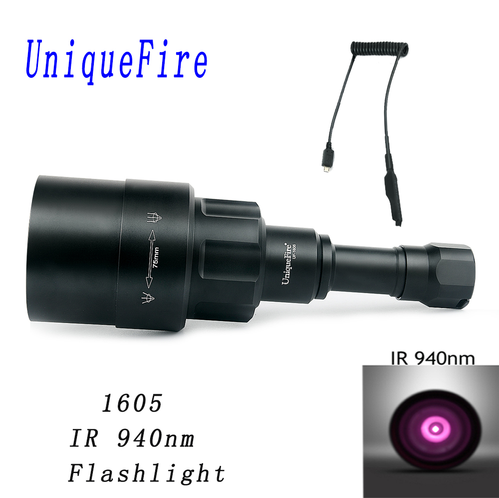 UniqueFire 1605 IR 940NM LED Flashlight 75mm Lens Infrared Light Night Vision Torch Rechargeable With Rat Tail For Hunting uniquefire 1605 ir 940nm led flashlight 38mm lens infrared light night vision troch adjustable rechargeable for hunting kit set