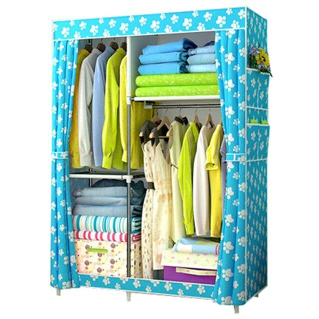 DIY Assambled Simple Folding Reinforcement Portable Clothes Closet Wardrobe  Fabric Clothes Storage Organize