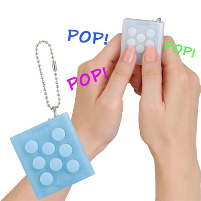 Unlimited Puchi Keychain Bubble Keyring Mini Pop Infinite Air Bubbles Vent Decompress Funny Toy TH0068