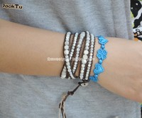 2014 White Mother Of Pearl Beads On Coffee Leather Wrap Bracelet Lady