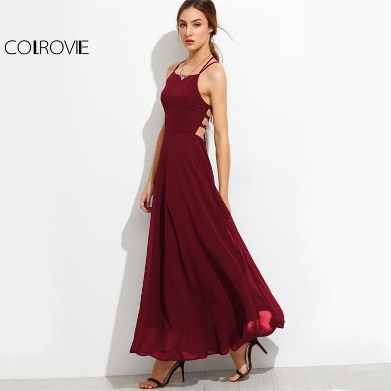 COLROVIE Lace Up Back Sexy Party Dress Burgundy Elegant Women Strappy Cami Maxi Dresses 2017 Summer Cross Boho Draped Long Dress