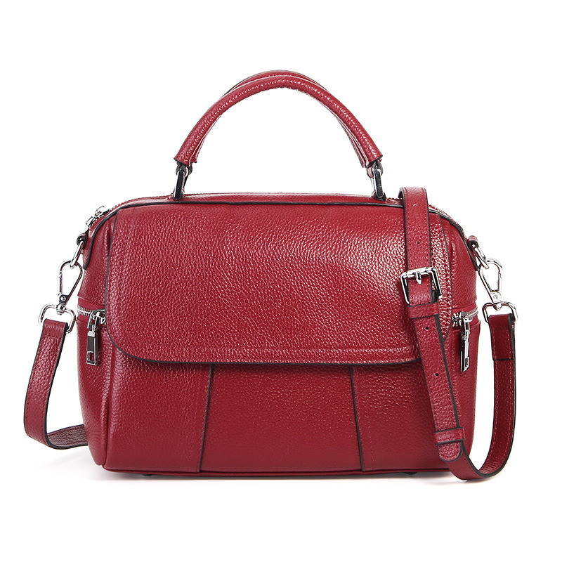 Autumn and Winter New Leather Handbags European and American Fashion Shoulder Bag First Layer Leather Slung Portable Ladies Bag famous brands first layer of leather woman bag autumn and winter fashion shoulder bag casual mobile messenger bag