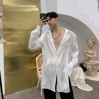 Men Organza Split Sexy Casual Long Sleeve Shirt Male Translucent Fashion Long Style White Black Dress Shirts Nightclub Clothes