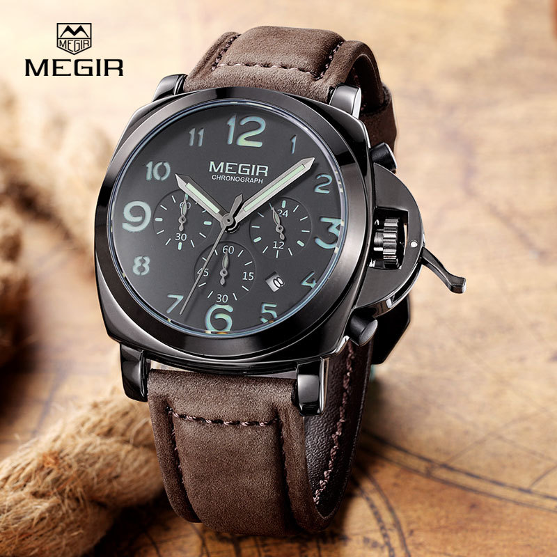 MEGIR Chronograph Sports Watch Gold Luxury Watches For Men Top Brand army Military Wristwatch Relogio masculino quartz-watch megir chronograph men s quartz watch leather army gold watches men watches multi function sports wristwatches reloj hombre 2016