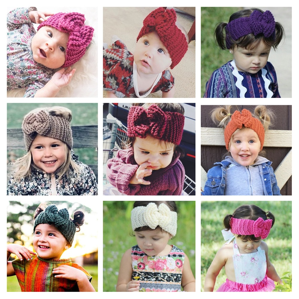 Baby Headband Bow Girl Headbands Winter Warmer Hair Accessories Newborn Wool Knitted Hairband Kid Turban Infant Soft Headwarp