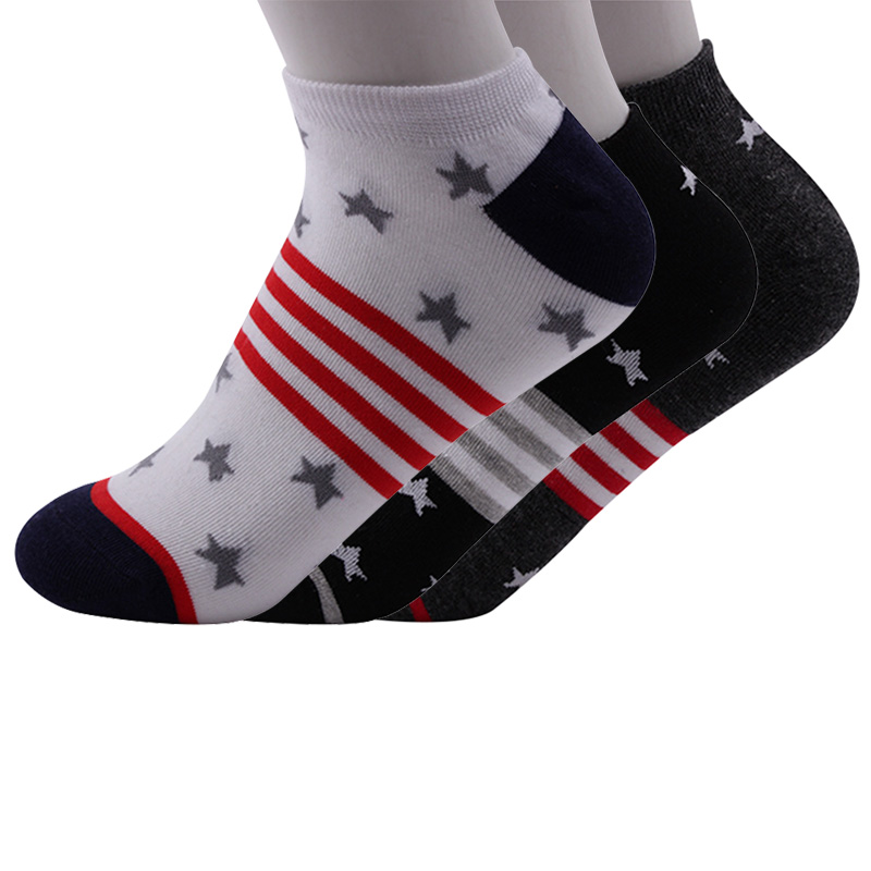5 Pairs/lot Mens Socks Fashion Striped Color Vintage Star Funny Socks Summer Non-slip Breathable Male Cotton Ankle Sock Meias
