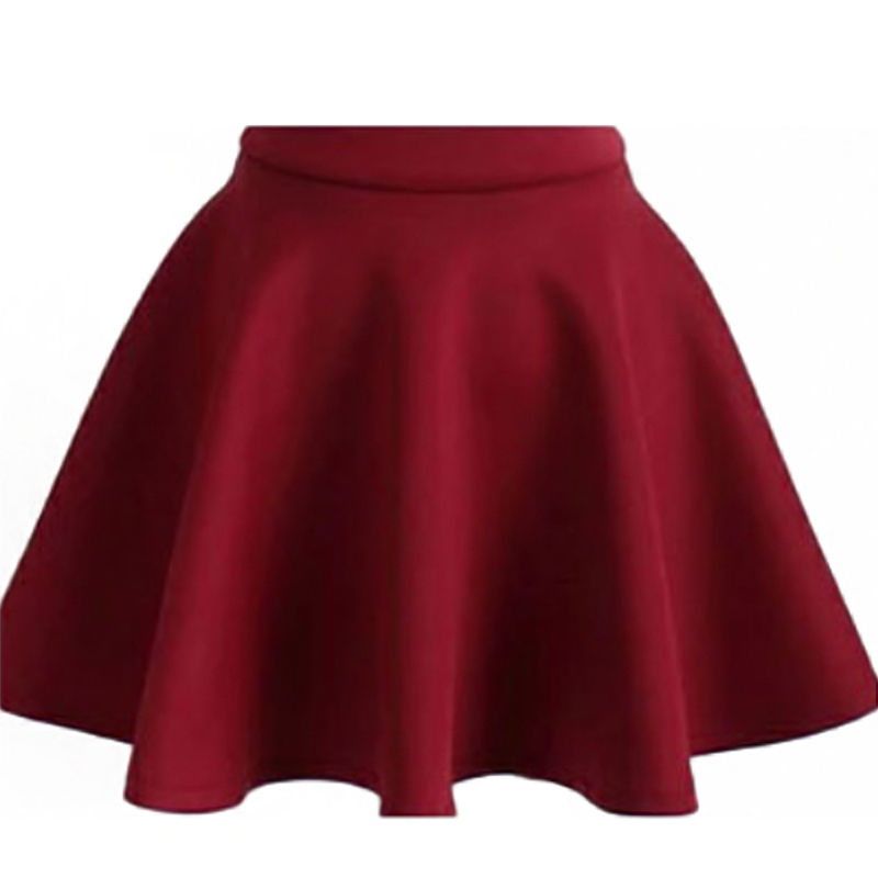 Sexy Women Stretch High Waist Plain Skater Flared Pleated Casual Cotton Mini short Skirt 2018 Fashion Pleated Skirt