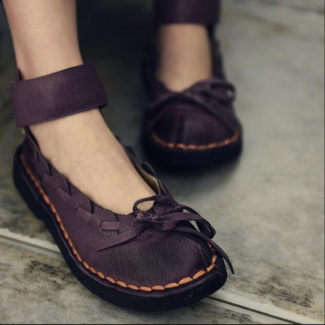 2016 new spring genuine leather women shoes flat heels shoes female vintage bow soft outsole Moccasins women flats 682801L