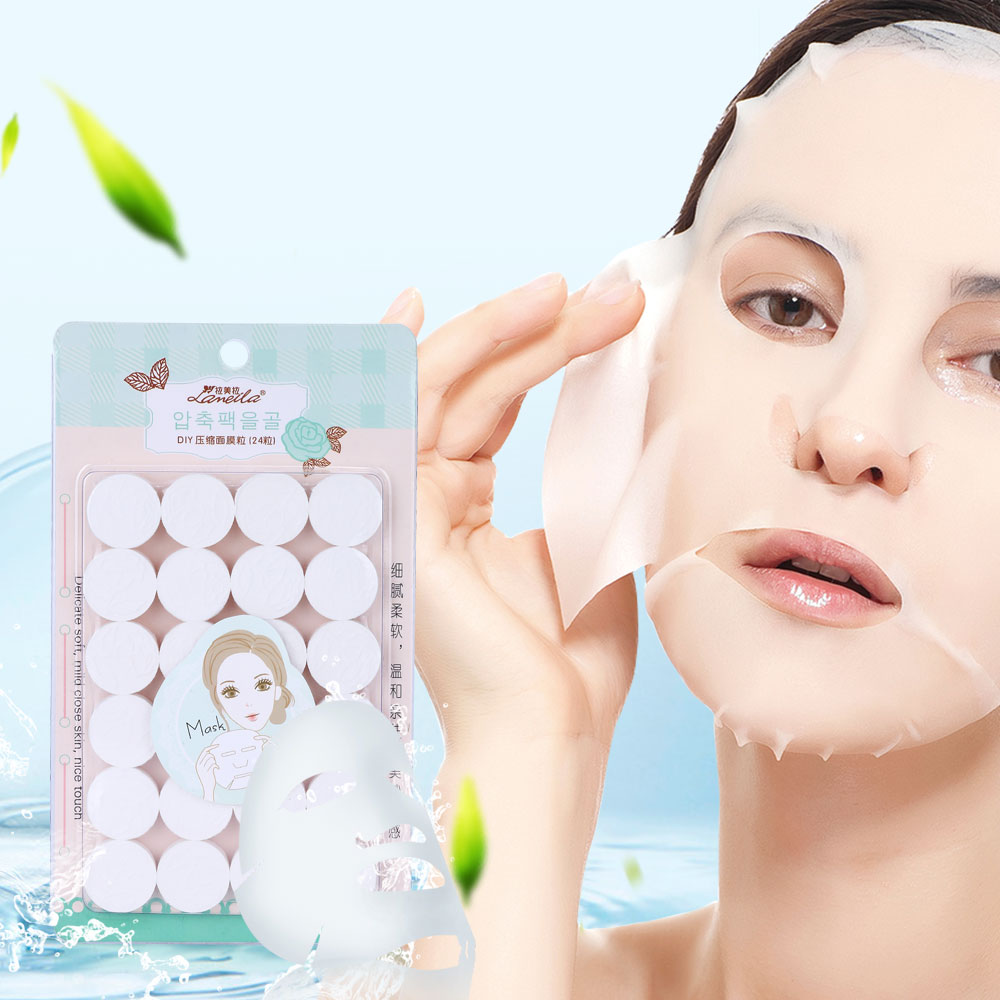 LAMEILA 24PCS Compressed Facial Face Mask Mascarillas Faciales Coreanas DIY Disposable Mask Paper Deep Cleansing Skin