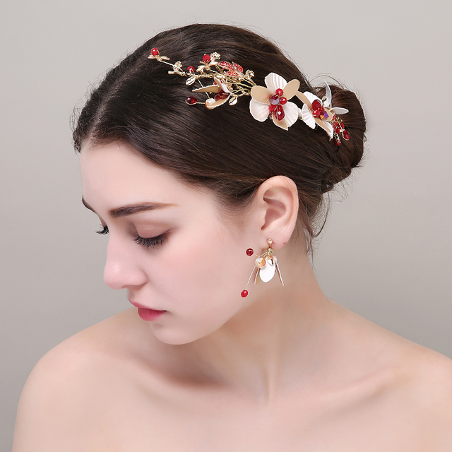 Baroque Gold Color Red Crystal Rhinestone Girls Youth Prom Headbands  Earrings Brides Flower Romantic Hair Accessories Headbands 40c43c92026