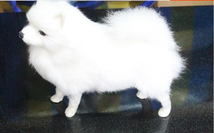 simulation cute standing white pomeranian 23x22x10cm model polyethylene&furs dog model home decoration props ,model gift d604