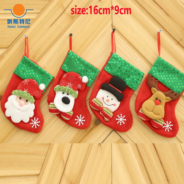 4pcs 15cm9cm small size christmas stockings with cartoon pattern - Small Christmas Stockings