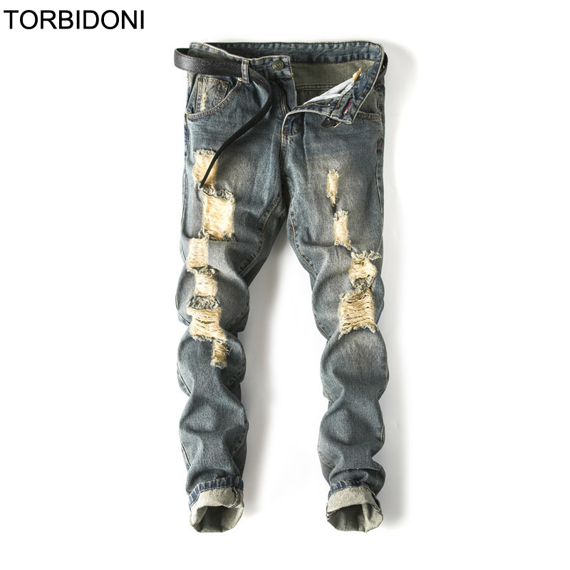 Hot Sale Denim Hole Jeans Mens Retro Fashion Good Quality 2018 Slim Fit Denim Long Pants Casual Skinny Jeans Ripped Trousers