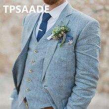Новейший дизайн пальто, брюки, светильник, синий лен, свадебные костюмы для мужчин, пляжный Terno, приталенный, для жениха, на заказ, 3 предмета, смокинг, костюм, платья