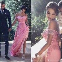 Длинные Кружевные Аппликации vestido de festa longo гостей свадьбы Вечерние платье фрейлины дешевые пикантные с плеча платья невесты