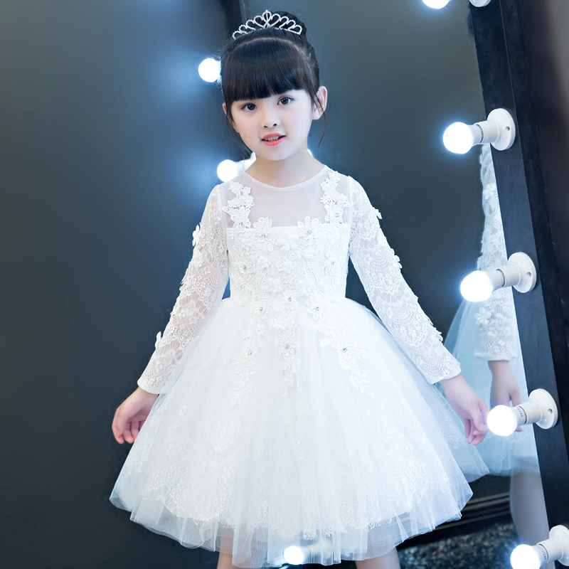 2017 New Hot-Sales Pure Solid White Color Children Girls Birthday Wedding Party Princess Lace Dress Babies Tutu Ball Gown Dress 2017 new high quality girls babies white color lace princess party dress wedding birthday costume ball gown dress for children