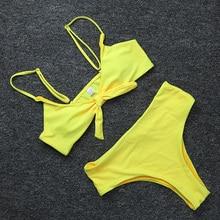 Retro Solid Front Bow Knot Tie High Waist Push Up Bikini