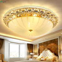 Europe Lustre Crystal Led Ceiling Lights Fixture Gold Metal Bedroom Led Ceiling Light Lamparas Foyer Led Ceiling Lamp Luminarias