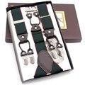 2017 New leather Men's braces 6 clips elastic suspenders adult straps Fashion bretels suspensorio tirantes hombre bretelles men