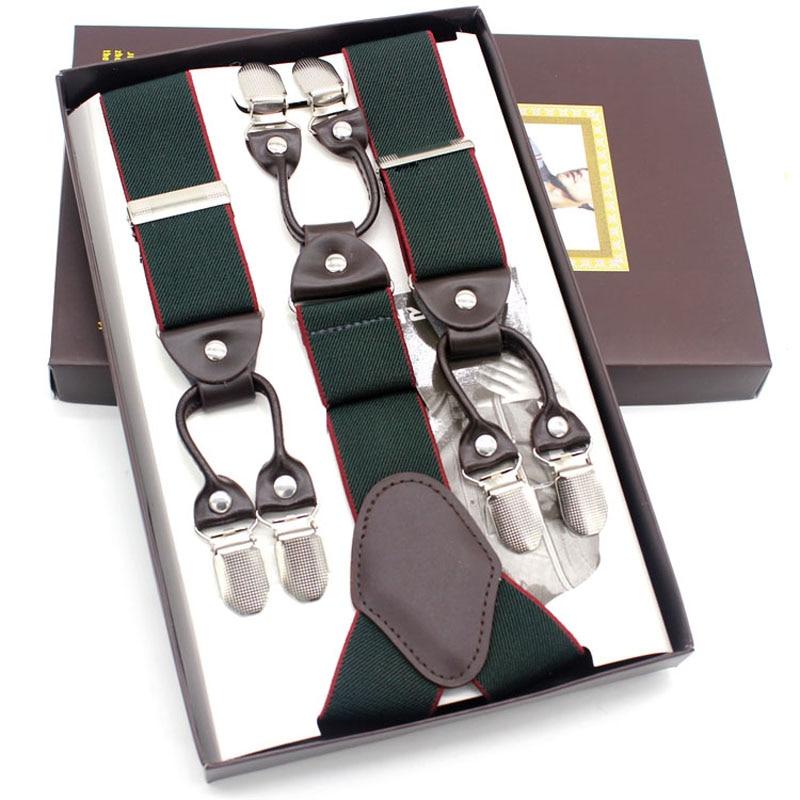 2019 New Leather Men's Braces 6 Clips Elastic Suspenders Adult Straps Fashion Bretels Suspensorio Tirantes Hombre Bretelles Men