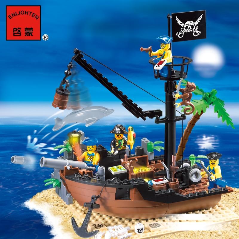 Enlighten Model building kits compatible with lego city pirates Broken dock 955 3D blocks Educational toys hobbies for children enlighten 306 pirate ship scrap dock building blocks model toys compatible with lepin educational gift for children