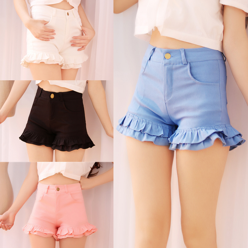 S-2XL Summer Japanese Women Candy Color   Shorts   Cute Kawaii Young Girl Bottoms Ruffles hem Sweet Princess Pink Oversize Mid waist