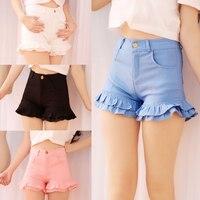 S 2XL Summer Japanese Women Candy Color Shorts Cute Kawaii Young Girl Bottoms Ruffles Hem Sweet
