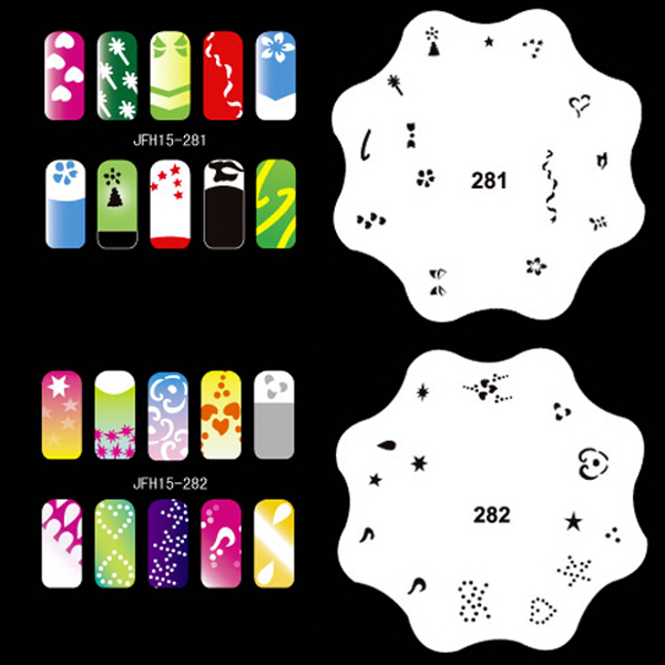 300 Design Airbrush Nail Art STENCIL DESIGNS 20 Heart Template Sheets Kit Paint one piece chic heart butterfly patterns nail art print template