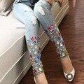 2016 Nova Primavera Outono Quente Moda Boyfriend calças de Brim Do Furo Das Mulheres Do Vintage Feminino Skinny Jeans Stretch Lápis calças Das Senhoras Do Vintage
