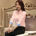 {Guoran } white formal shirt women 2017 new blue pink long sleeve plus size female blouse OL office work tops women clothings